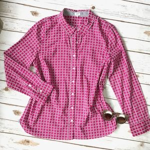 Crown & Ivy Bright Pink Patterned Button Down Lrg